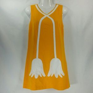 Victoria Beckham Yellow White Tulip Shift Dress